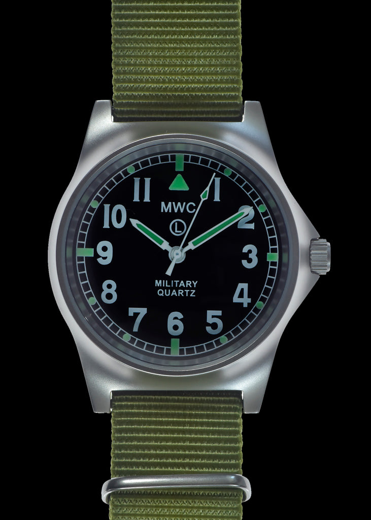 MWC G10 LM Stainless Steel Non Date Military Watch (Olive Green Strap)