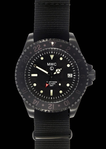 MWC GMT 100m Water resistant Military Watch in Black PVD Steel Case with Screw Crown