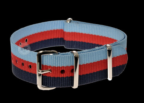 18mm black, Red and Grey Zulu Military Watch Strap
