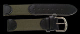 MWC 20mm Retro Leather and Fabric Combination Watch Strap
