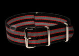 18mm Black, Red and Grey NATO Military Watch Strap