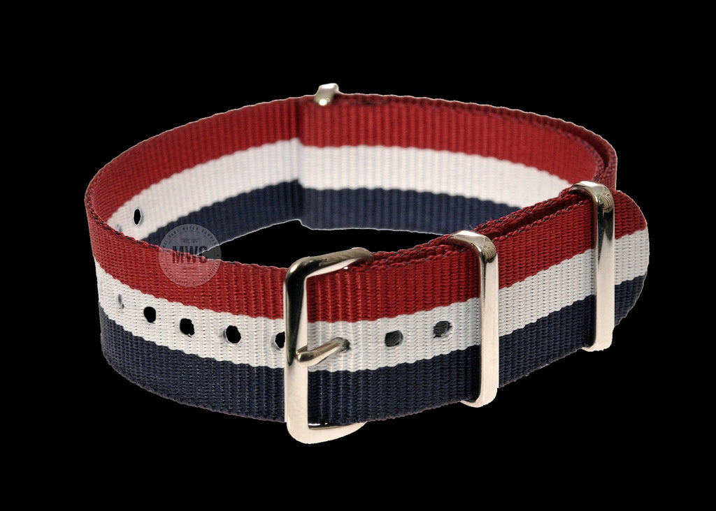 22mm Blue, White and Red NATO Military Watch Strap