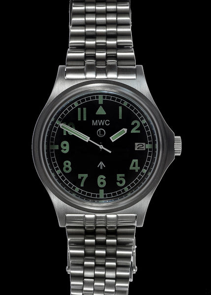 MWC G10 300m / 1000ft Water resistant Stainless Steel Military Watch with Sapphire Crystal on Bracelet