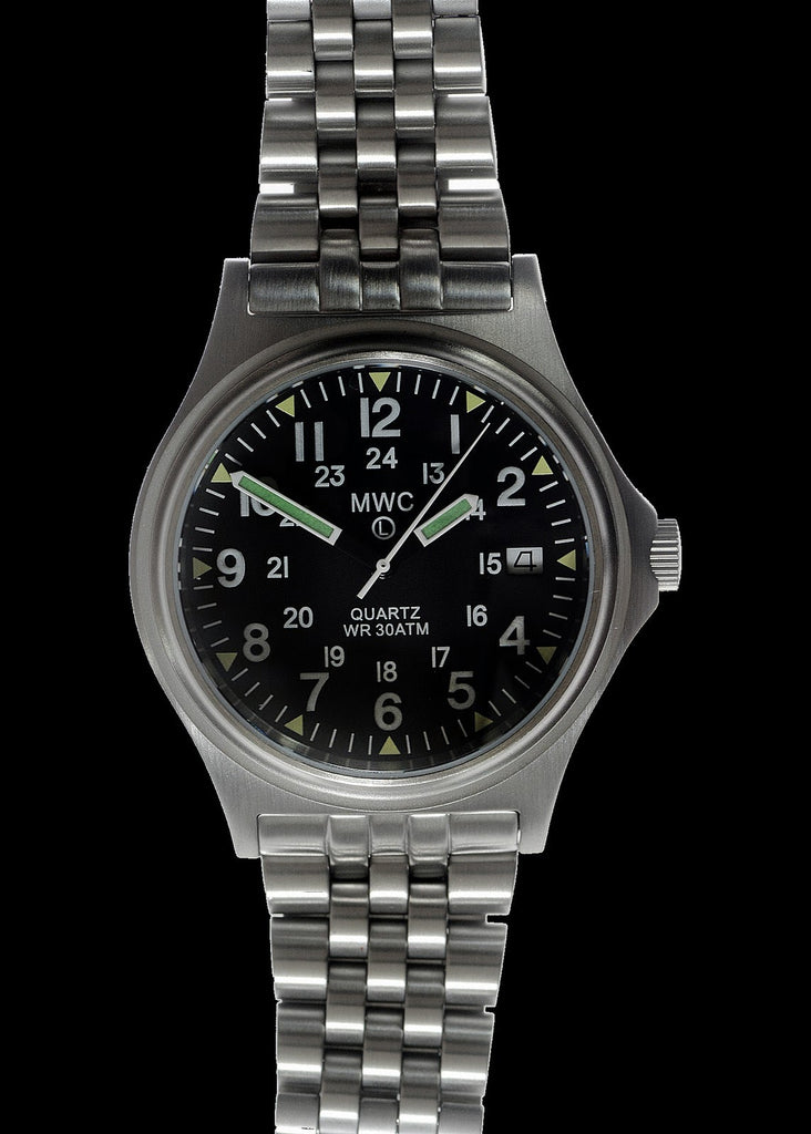 MWC G10 300m 1000ft Water resistant 12/24 Hour Steel Military Watch with Sapphire Crystal on Bracelet