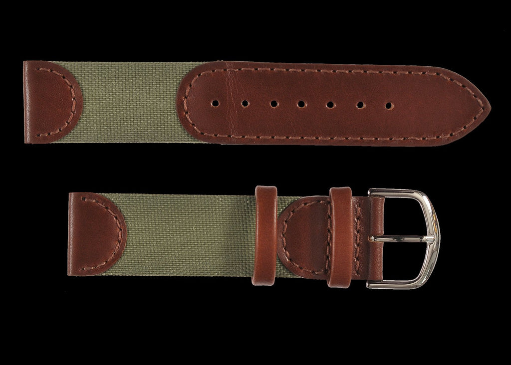 MWC 18mm Retro Leather and Fabric Combination Watch Strap