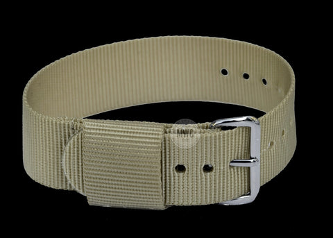 2 Piece 20mm Grey NATO Military Watch Strap in Ballistic Nylon with Stainless Steel Fasteners