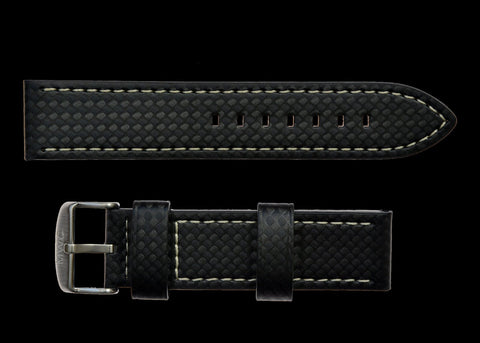 22mm MWC Branded Black Carbon Fibre Effect Leather Watch Strap