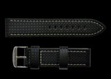 20mm MWC Branded Black Carbon Fibre Effect Leather Watch Strap
