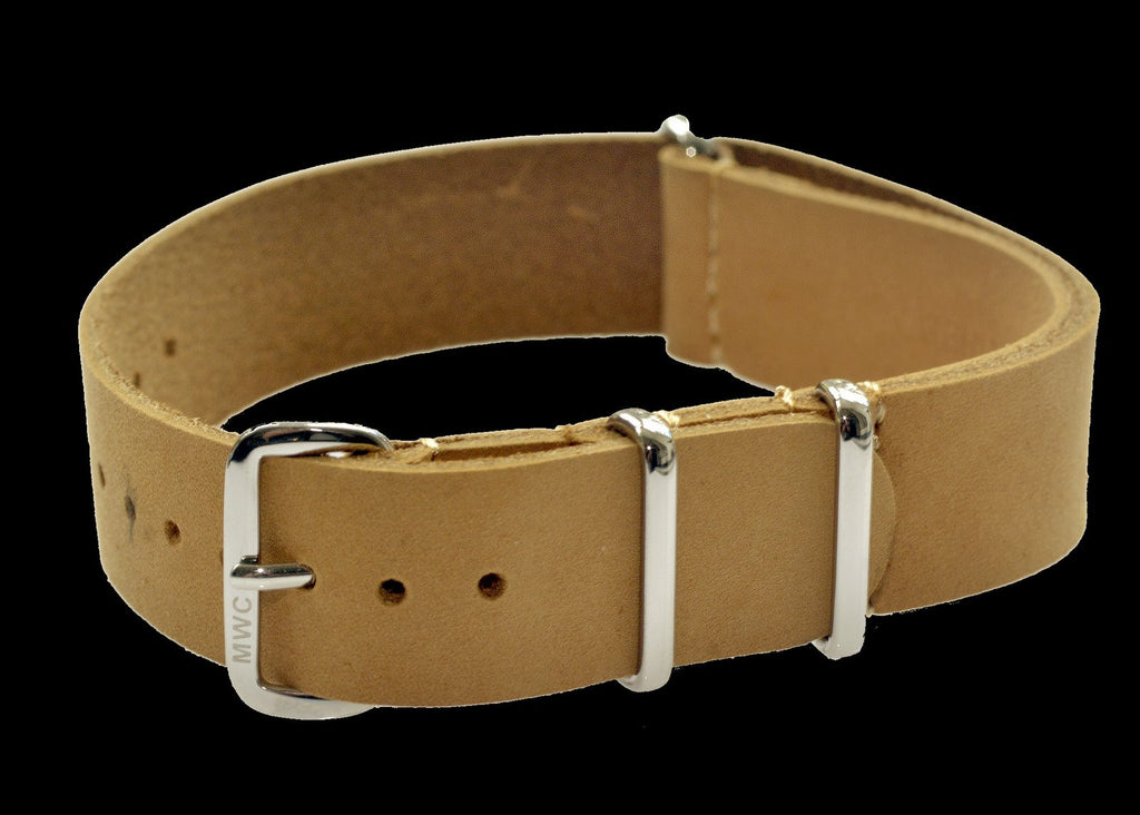 18mm Light Brown Leather NATO Military Watch Strap