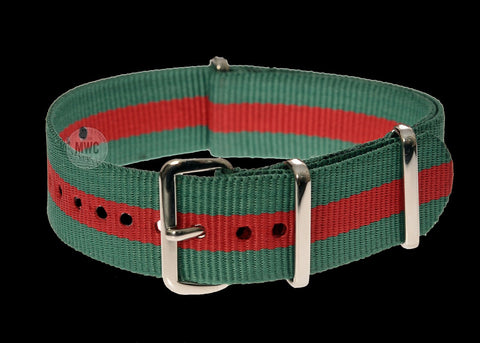 18mm Green and Red NATO Military Watch Strap