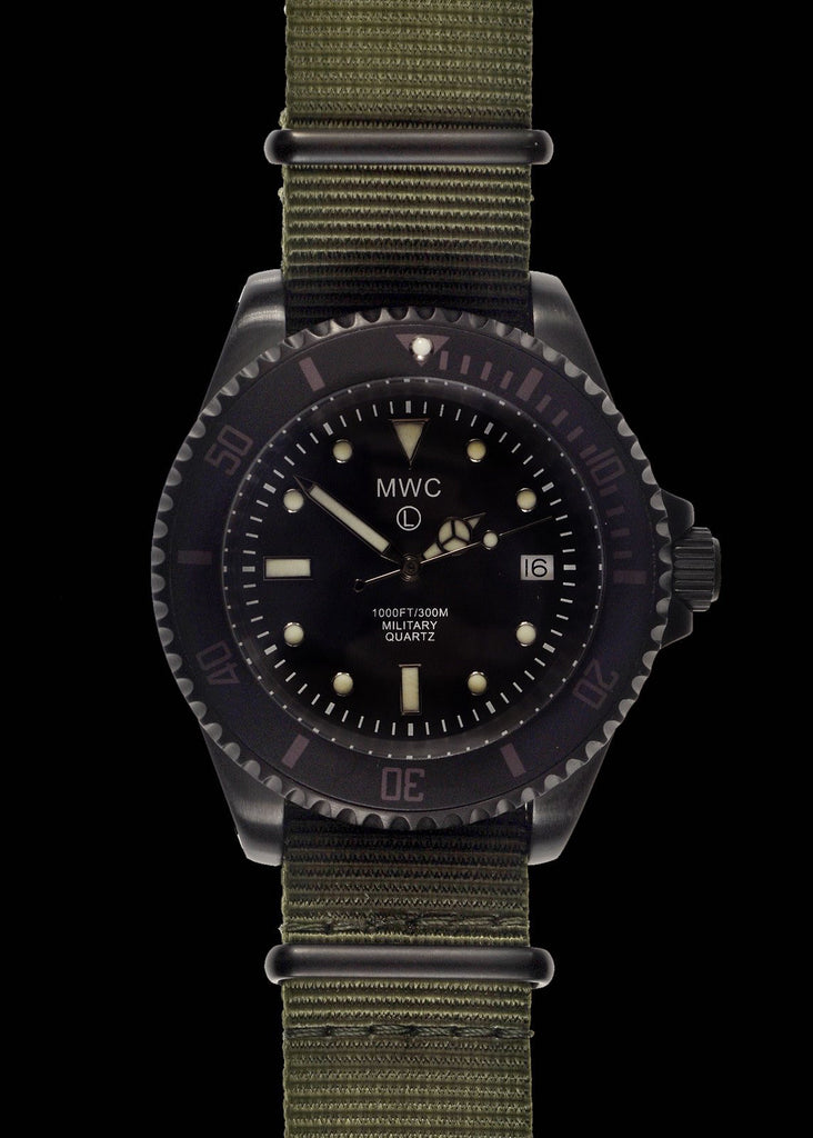 MWC 300m / 1000ft PVD Quartz Military Divers Watch on Olive Military Strap