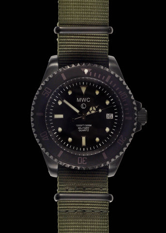 MWC 300m / 1000ft PVD Quartz Military Divers Watch on Olive Military Webbing Strap