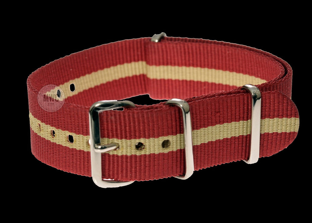20mm Red and Sand NATO Military Watch Strap