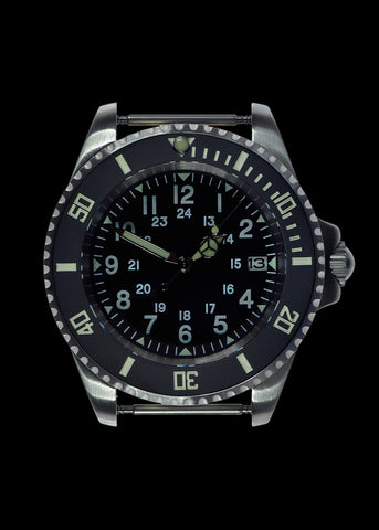 MWC 24 Jewel U.S Pattern 300m Automatic Military Divers Watch with Sapphire Crystal and Ceramic Bezel on a NATO Webbing Strap