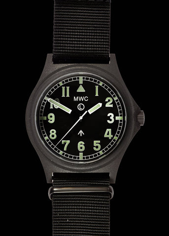 MWC G10 100m Water resistant Military Watch in Stainless Steel Case with Screw Crown and Ten Year Battery Life