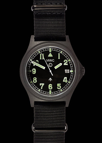 MWC G10 100m PVD Stealth Military Watch with Fixed Strap Bars, 10 Year Battery Life, Screw Crown & Caseback