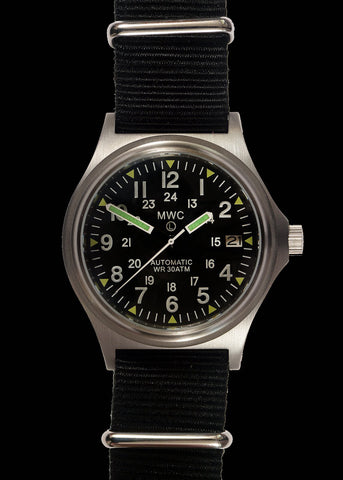 MWC G10 300m / 1000ft Water resistant Limited Edition Brushed Stainless Steel Automatic Military Watch with Sapphire Crystal on NATO Strap