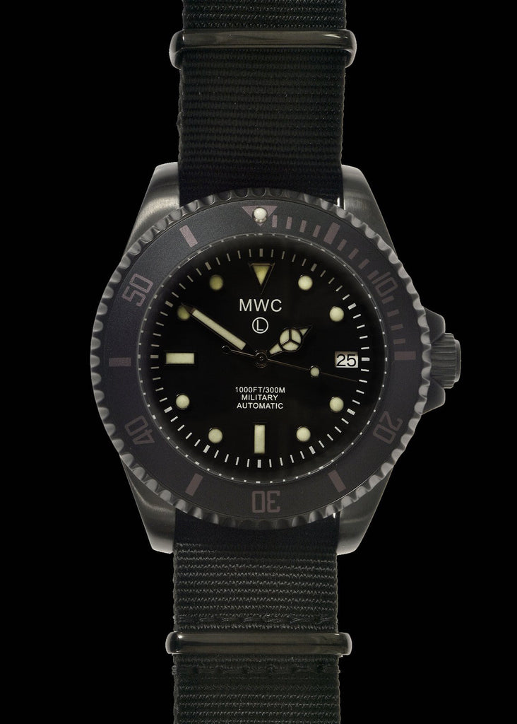 MWC 24 Jewel 300m Automatic Military Divers Watch in Black PVD Steel