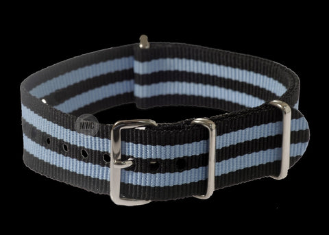"18mm ""Blue and Black"" NATO Military Watch Strap"