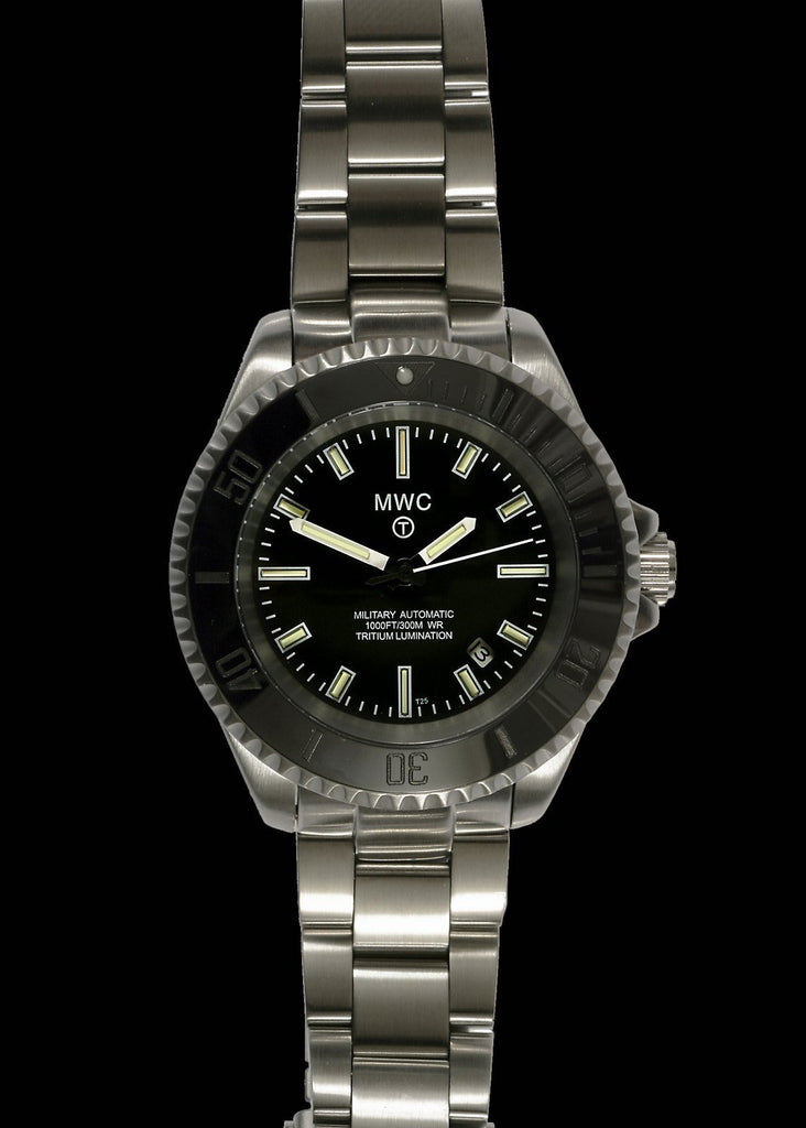 MWC 24 Jewel 300m Automatic Military Divers Watch on Bracelet with Tritium GTLS - 2013-2018 Model Reduced to Clear Final Handful Remaining