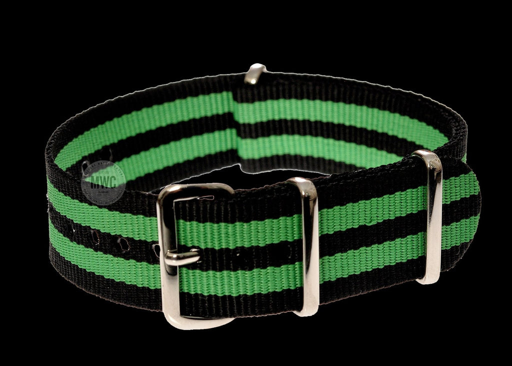"20mm ""Green and Black"" NATO Military Watch Strap"