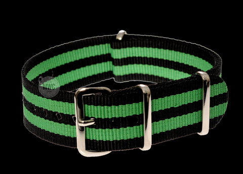 "18mm ""Green and Black"" NATO Military Watch Strap"