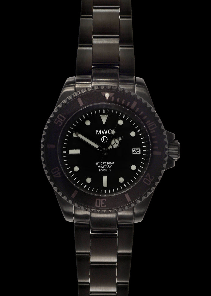 MWC 300m / 1000ft Black PVD Stainless Steel Hybrid Military Divers Watch on Matching Bracelet