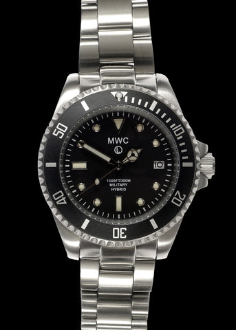 MWC 300m / 1000ft Stainless Steel Hybrid Military Divers Watch on Matching Bracelet