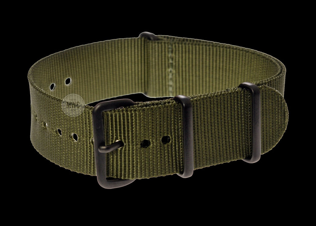 22mm Olive NATO Military Watch Strap with Covert Non Reflective Black PVD fittings