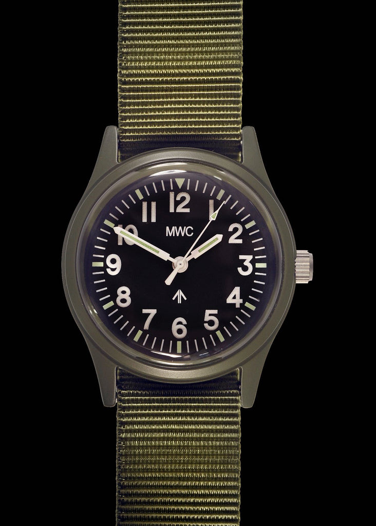 MWC Classic 1960s/70s Pattern Olive Drab European Pattern Military Watch on Matching Strap
