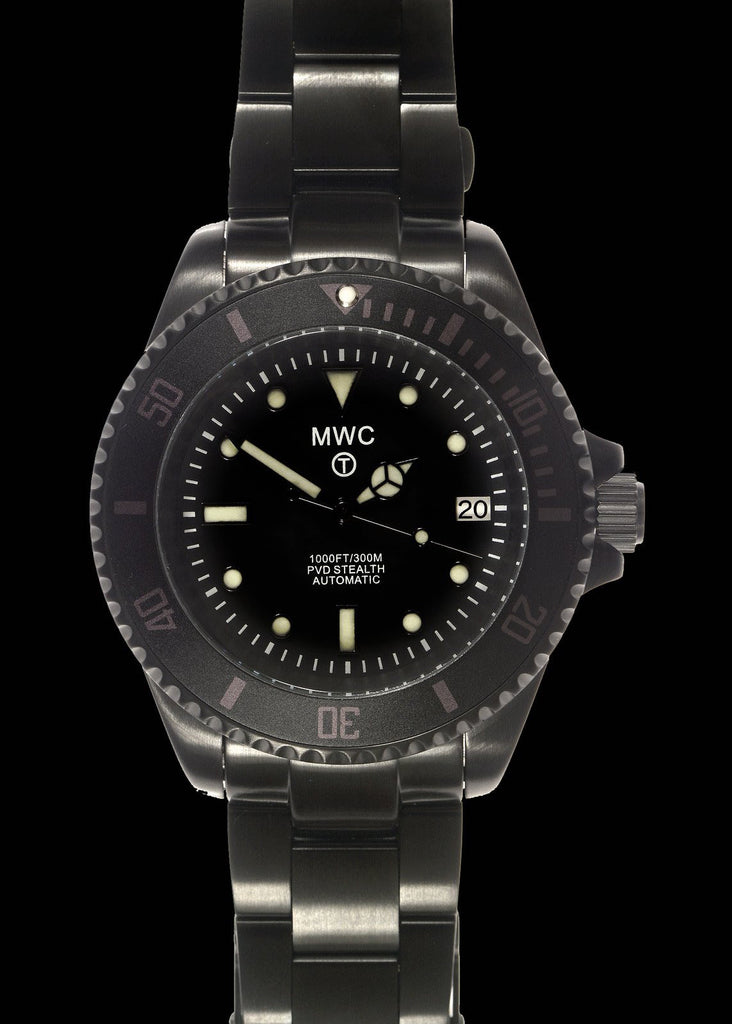 MWC 24 Jewel 300m Automatic Divers Watch on a PVD Bracelet