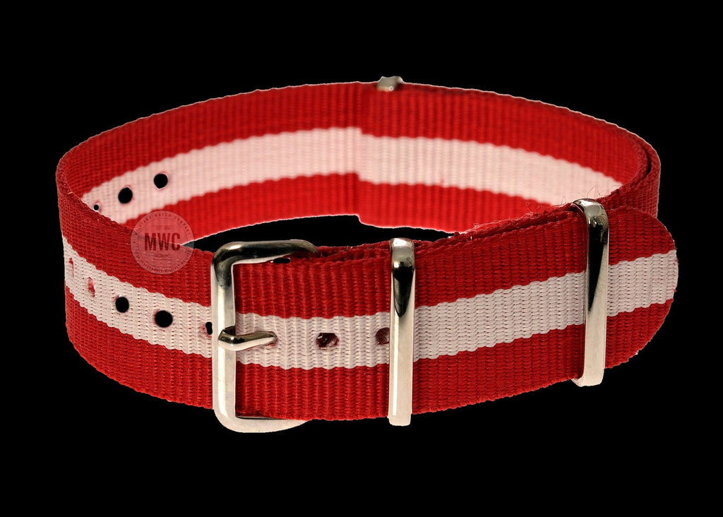"20mm ""Red and White"" NATO Military Watch Strap"