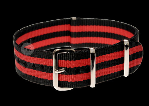 18mm Black, Red and Olive Green NATO Military Watch Strap