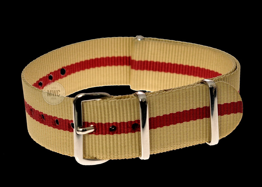 18mm Sand and Red NATO Military Watch Strap