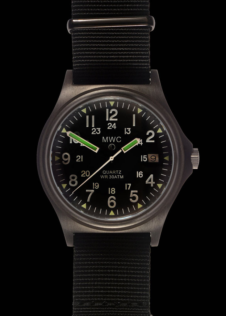 MWC G10 300m / 1000ft Water resistant Limited Edition Military Watch in Brushed Gunmetal Finish with Sapphire Crystal on NATO Strap