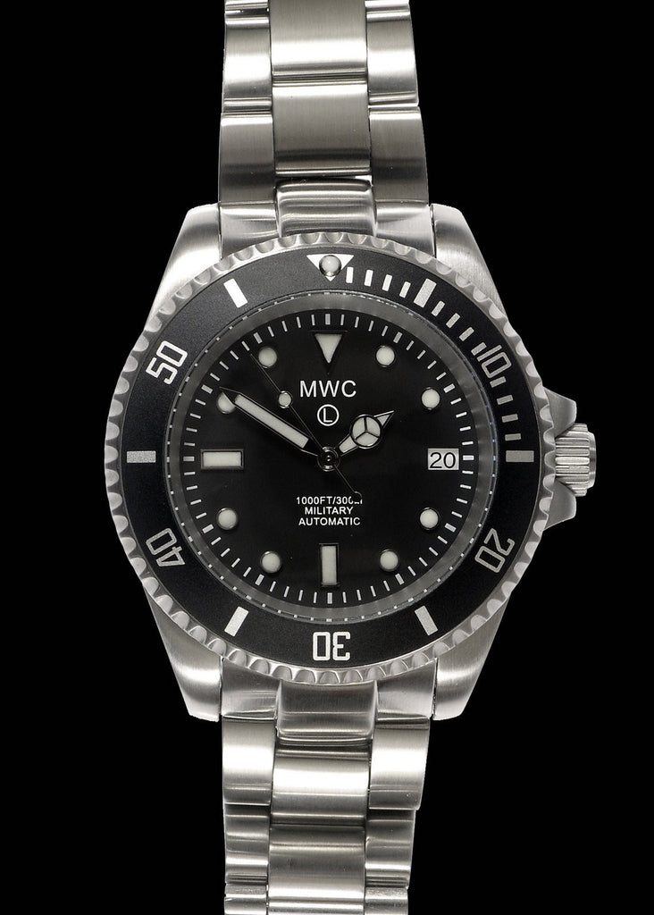 MWC 24 Jewel 300m Automatic Military Divers Watch on Steel Bracelet
