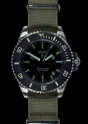MWC 300m Stainless Steel Quartz Military Divers Watch with Tritium GTLS and 10 Year Battery Life