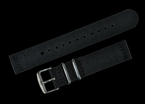 2 Piece 18mm Black NATO Military Watch Strap in Ballistic Nylon with Stainless Steel Fasteners