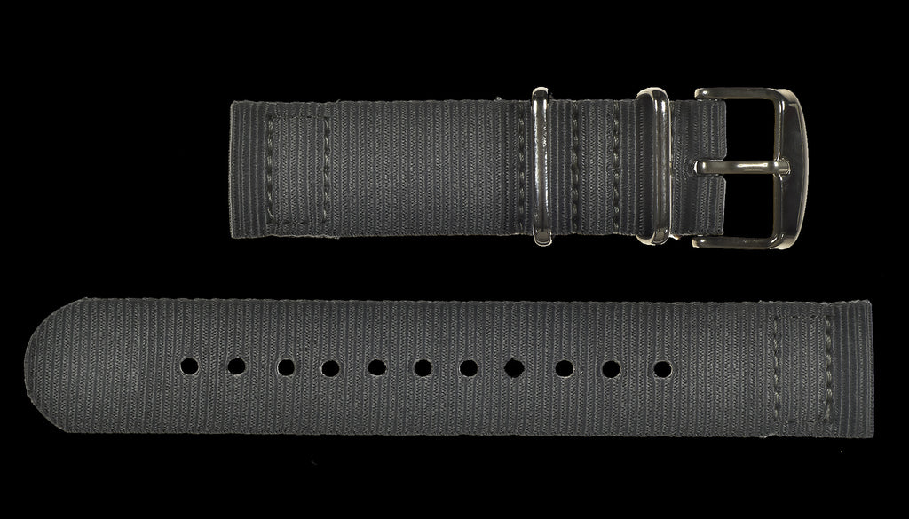 2 Piece 22mm Grey NATO Military Watch Strap in Ballistic Nylon with Stainless Steel Fasteners