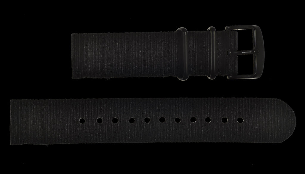 2 Piece 18mm Black NATO Military Watch Strap in Ballistic Nylon with Black PVD Fasteners