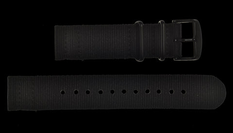 2 Piece 22mm Olive NATO Military Watch Strap in Ballistic Nylon with Stainless Steel Fasteners