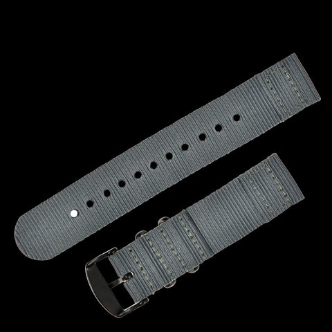 2 Piece 22mm Grey NATO Military Watch Strap in Ballistic Nylon with Black PVD Steel Fasteners