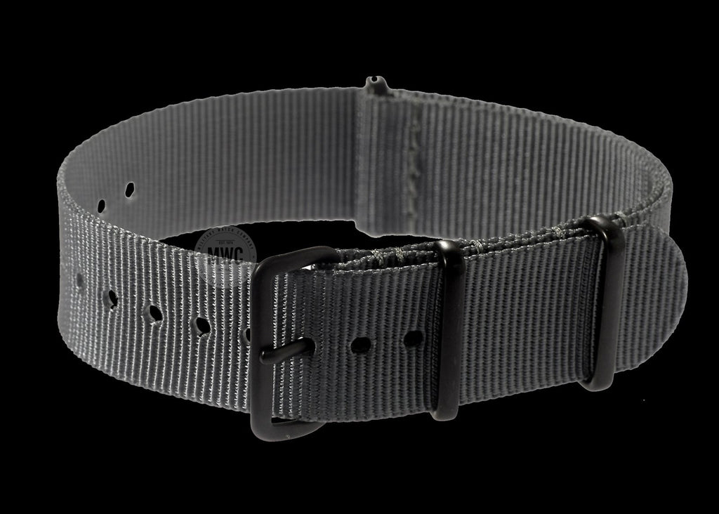 20mm Grey NATO Watch Strap with PVD Black Covert Buckles