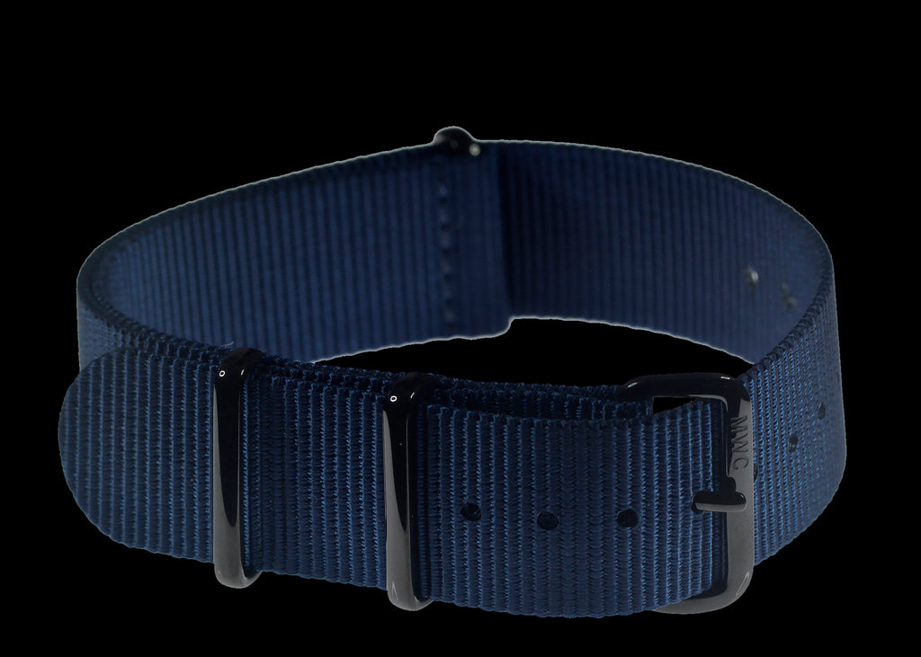 20mm Navy Blue NATO Watch Strap with Covert PVD Black Buckles