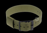 Lightweight 18mm Olive US Pattern Military Watch Strap with Black Buckles