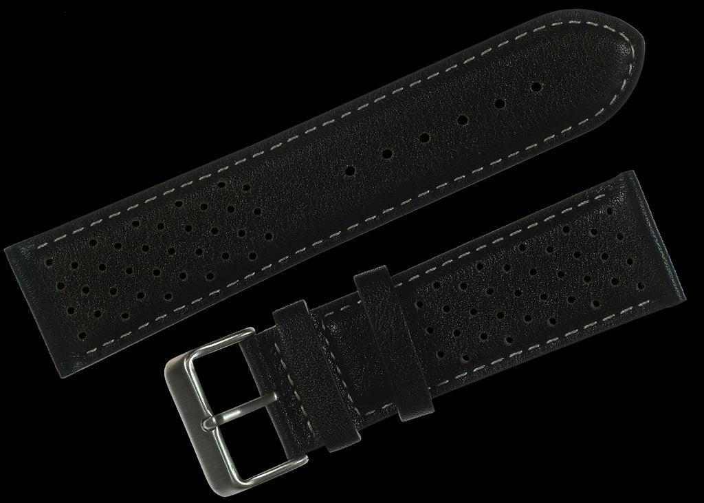 Classic 1970s / 1980s Retro Rally Pattern 22mm Black Leather Watch Strap