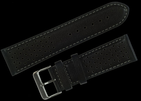 Classic 1970s / 1980s Retro Rally Pattern 24mm Black Leather Watch Strap