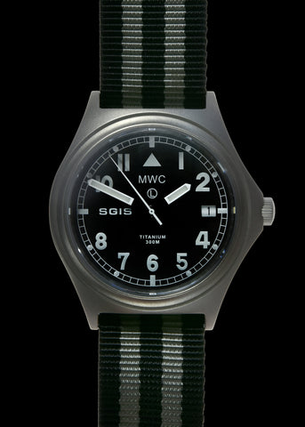 MWC British Army Specialist Group Information Services (SGIS) Titanium General Service Watch, 300m Water Resistant, 10 Year Battery Life, Luminova, Sapphire Crystal
