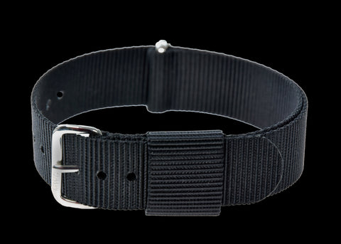 18mm US Pattern Black Military Watch Strap (chrome buckles)