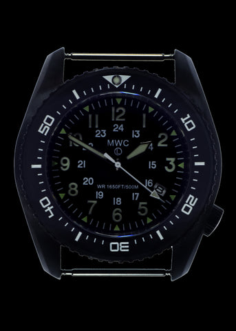 MWC 500m (1650ft) Water Resistant Black PVD Steel Automatic Divers Watch With 12/24 Dial, Sapphire Crystal, Ceramic Bezel and Helium Valve